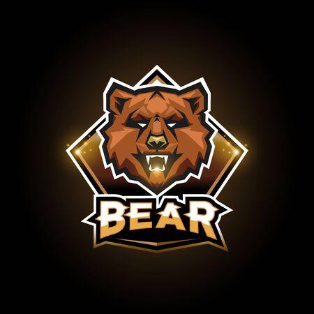 Bear logo for Sport and esport team on black background Ilustração