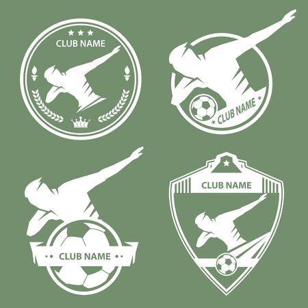 Soccer dance emblem logo design on green background
