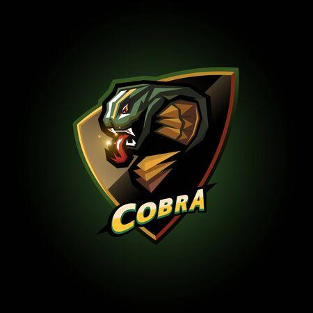 Cobra-Emblem-E-Sport-Logo-Design auf dunklem Hintergrund Logo