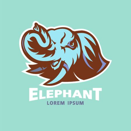 elephant head logo design on green background