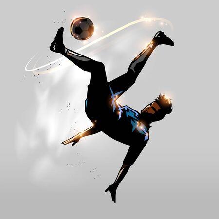 jugador de fútbol patada por encima de la cabeza en el diseño de aire Ilustración de vector