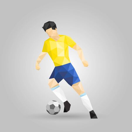 geometric soccer player dribbling low polygon design Banco de Imagens - 131898654