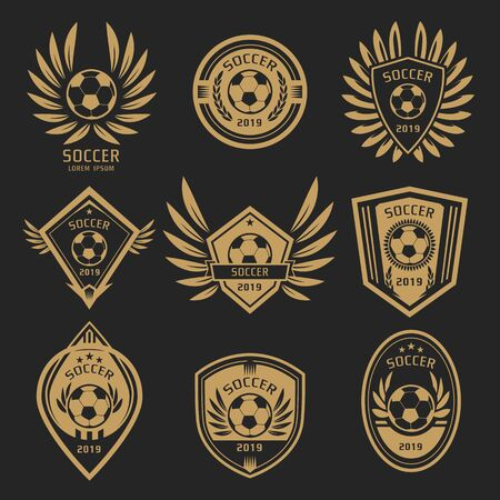 gold soccer logo with wing style on dark background Banco de Imagens - 131898743