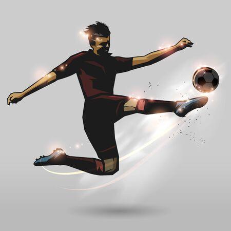 soccer player half volley hitting a ball design