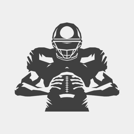 American football player holding ball design, isolated vector silhouette. Banco de Imagens - 131899098