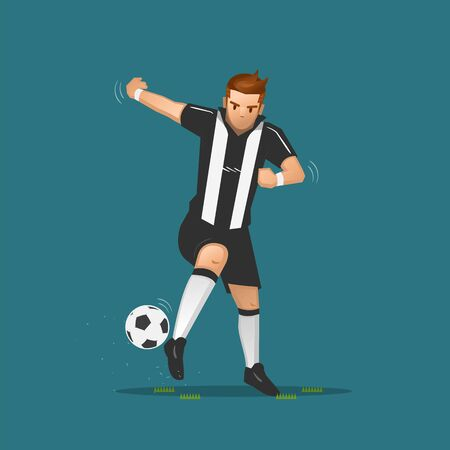 soccer player cartoon dribbling a ball on blue background