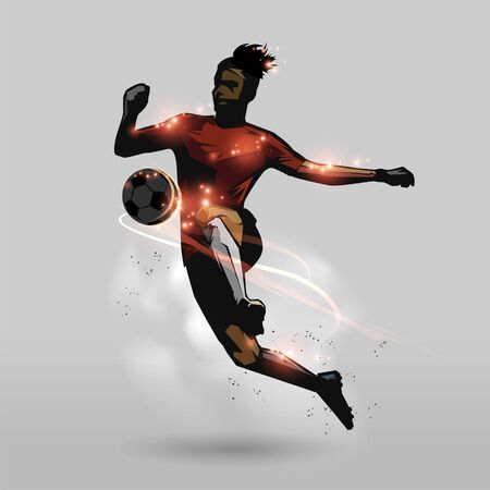 Soccer player use knees touching ball abstract design Ilustração