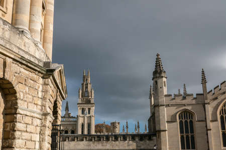 Oxford, All Souls College UK 18/07/2019 view from Radcliffe Square dark sky