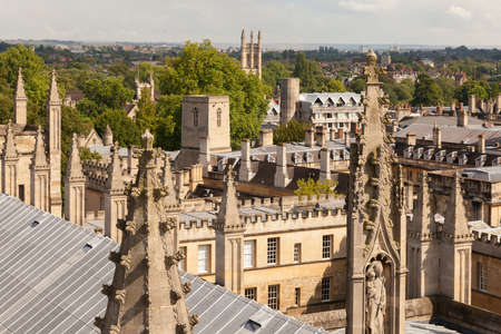 Oxford, UK 18/07/2019 Skyline from unusual view showing spires and roofs in sun