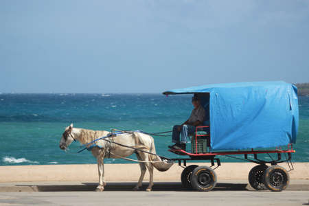 Baracoa Cuba 20.12.2018 Horse and cart transport for goods and people with ocean Imagens