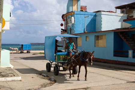 Baracoa, Cuba 20.12.2018 Horse and cart transport for goods and people