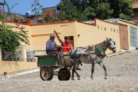 Trinidad, Cuba 15.12.2018 Horse and cart transport for goods and people Imagens