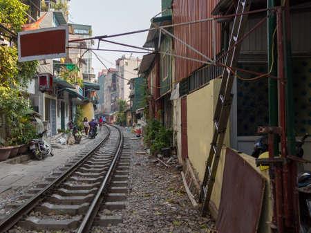 Train Street Hanoi Vietnam 12/10/2017 Famous street with railway running down it