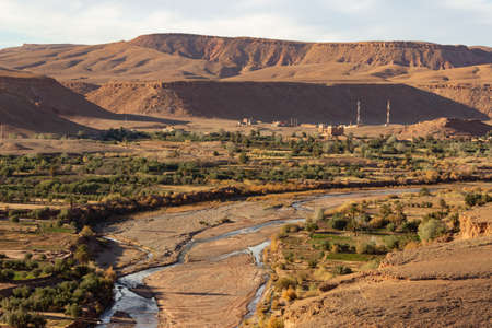 River valley below Ait Ben Haddou ksar Morocco, with views over to mountains