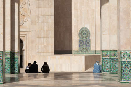 Hassan 2 mosque in Casablanca Morocco 12/31/2019 with decoration and tourists