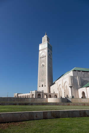 Hassan 2 mosque in Casablanca Morocco 12/31/2019 with minaret and blue sky