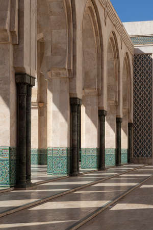 Hassan 2 mosque in Casablanca Morocco 12/31/2019 beautiful arches and shadows Banco de Imagens