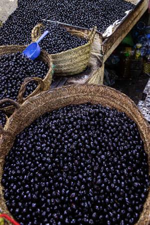 Marrakech, Morocco, 01/12/2020 market stall selling black olives