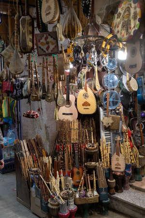 Marrakech, Morocco, 01/12/2020 musical instrument stall in the medina Banco de Imagens