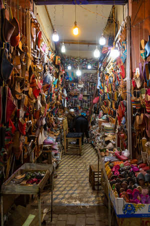 Marrakech, Morocco, 01/12/2020 market stall selling traditional leather slippers
