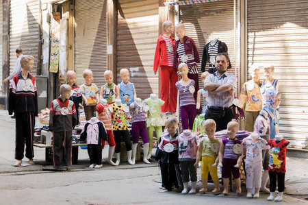 The Al-Hamidiyah Souq, Damascus Syria 04/12/2009 childrens clothes stall