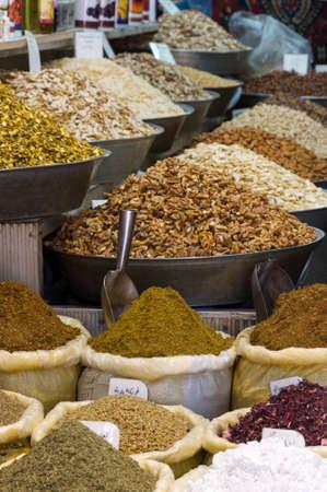 The Al-Hamidiyah Souq, Damascus Syria 04/12/2009 spices in the market Editorial