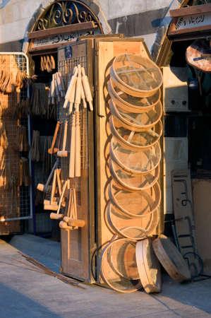 The Al-Hamidiyah Souq Damascus Syria 04/12/2009 wooden homewares the main market