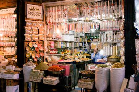 The Al-Hamidiyah Souq, Damascus Syria 04/12/2009 spice stall in the main market