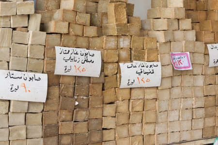 Aleppo Syria 12/04/2009 specialty Aleppo hard soap made from olive oil and lye