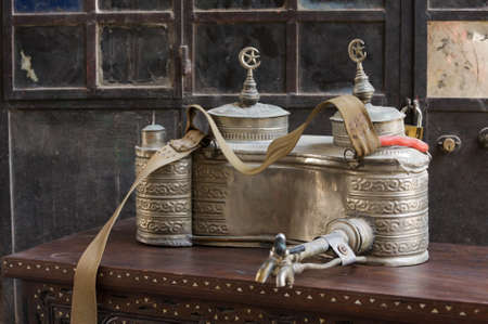 Silver urn for carrying and selling tea in the streets of Damascus, Syria