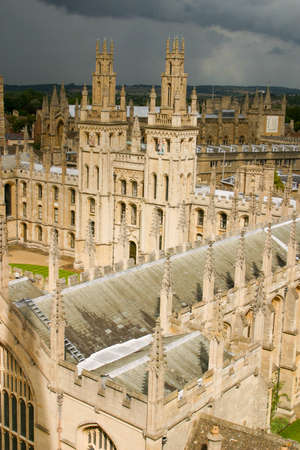 Oxford, All Souls College UK 18/07/2019 view of quadrangle from high angle Editorial
