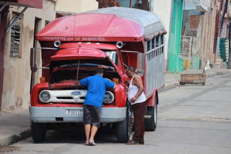 Santiago de Cuba, Cuba 17.12.2018 Local bus or gua guas with passengers Éditoriale