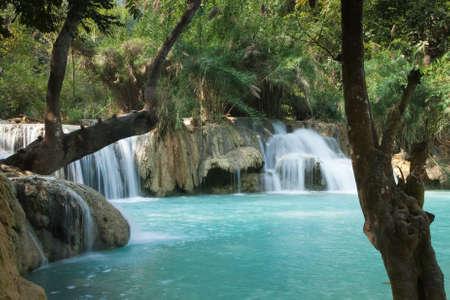 Kuang Si Falls Laos, famous waterfalls in the jungle with beautiful landscape Foto de archivo