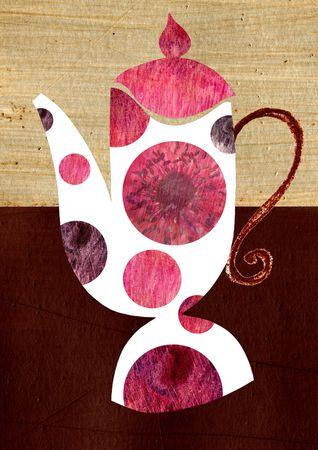 stilllife: Contemporary illustration of a coffee pot Stock Photo