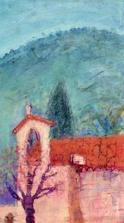 textural: Mixed media painting of mediterranean church; an original artwork by the artist inspired by a trip to Spain Stock Photo