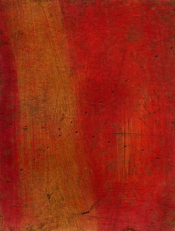 textural: Artistic mixed media texture experiment - red and gold Stock Photo