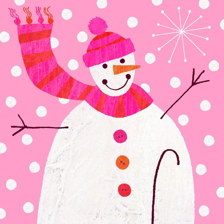 carrot nose: Contemporary christmas illustration of a snowman