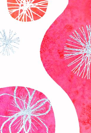 textural: Contemporary abstract Christmas illustration - tinsel and baubles Stock Photo