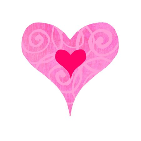 Contemporary valentines illustration of a groovy heart with swirls illustration