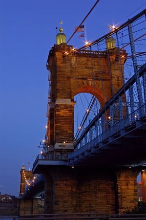 Roebling Suspension Bridge at twilight Imagens