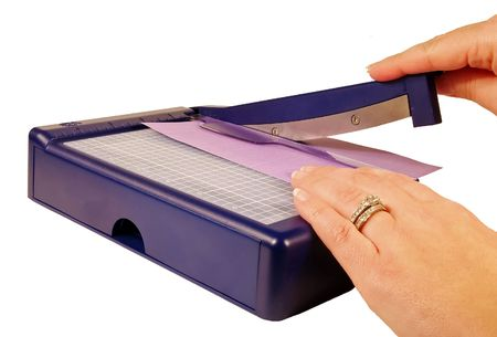 Woman Using A Paper Trimmer For Scrapbooking Stock Photo Picture