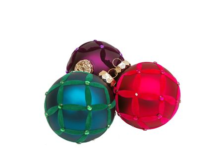 Trendy red, purple, and blue Christmas tree ornaments Stock Photo - 2150283