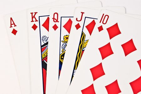 royals: Royal flush poker hand in diamond suit