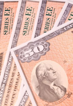 ee: Group of fifty dollar EE US Government savings bonds Stock Photo