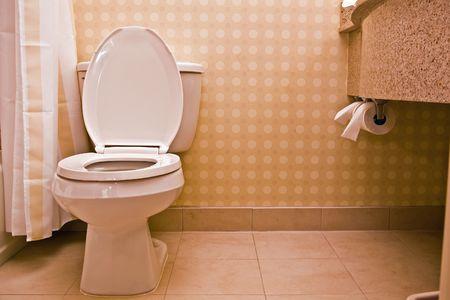 high end: Alto final cuarto de ba�o con WC en blanco m�rmol de azulejos y baldosas