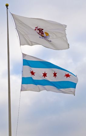 Illinois and city of Chicago flags Imagens