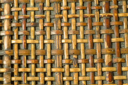 Neutral woven wood background texture Imagens