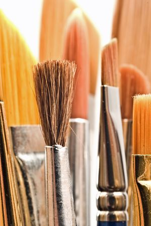 Assorted paintbrushes of different shapes and sizes with shallow depth of field