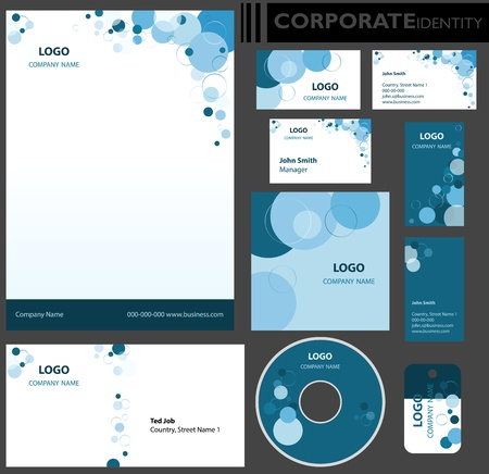 paper chain: Corporate identity template  Editable set  Design including business paper, cards, ID, CD, envelope and key chain illustration  Illustration