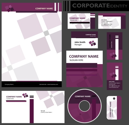 Corporate identity template  Editable set  Design including business paper, cards, ID, CD, envelope and key chain illustration  Vectores
